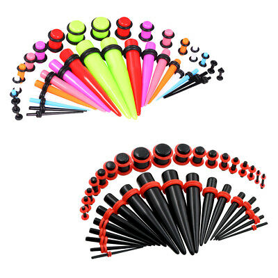 Gauges Kit Plugs Tapers Acrylic Mix-Color 14G-00G Stretching Set 72-Pieces
