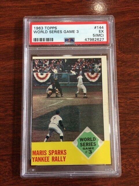 1963 topps #144 World Series game 3. PSA 5(MC). Roger Maris