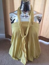 NWT MUSTARD TUBE TOP HALTER TIE BLOUSE WITH WRAP GENERRA  TANK SIZE SMALL