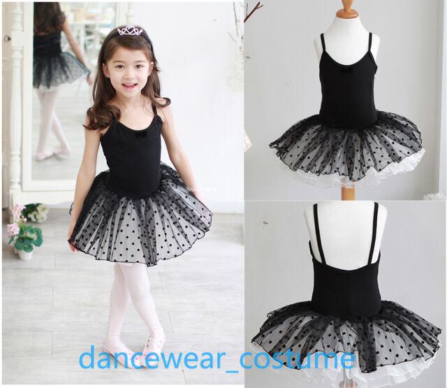 Kids Girls Party Ballet Costume Tutu Dance Skate Dress 3-8Y Black Leotard Skirt