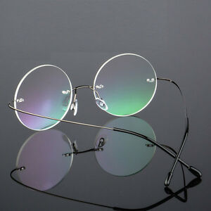 69444bc476a Image is loading Vintage-Round-Rimless-Glasses-Eyeglasses-Metal-Frame-Clear-