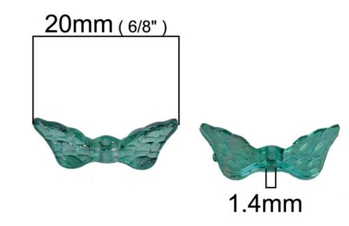 20mm Angel Wing Beads Dk Green Butterfly Fairy Dragonfly Jewelry Finding Acrylic