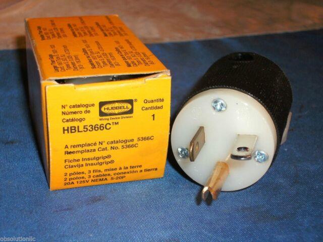 NEW IN BOX  Hubbell-HBL5366C Plug-Straight-20Amp-2Pole-125V-3W-Nema-5-20P