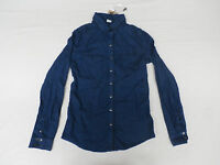 Bershka Denim Women's Long Sleeve Western Denim Shirt Dark Blue Size Small