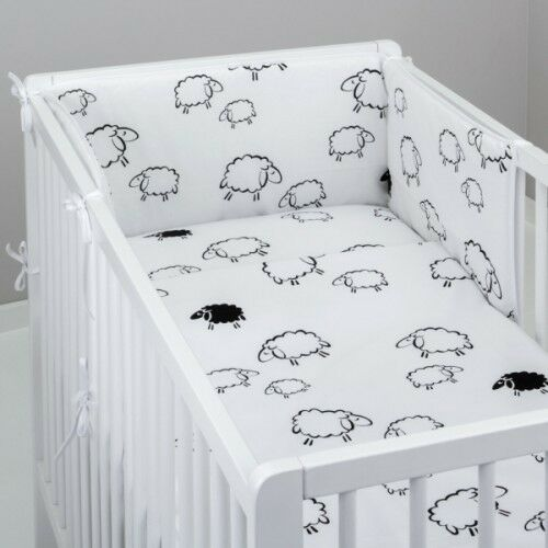 PADDED Bumper 3 Pcs Baby Nursery Bedding Set fit Cot 120x60 or Cot Bed 140x70cm