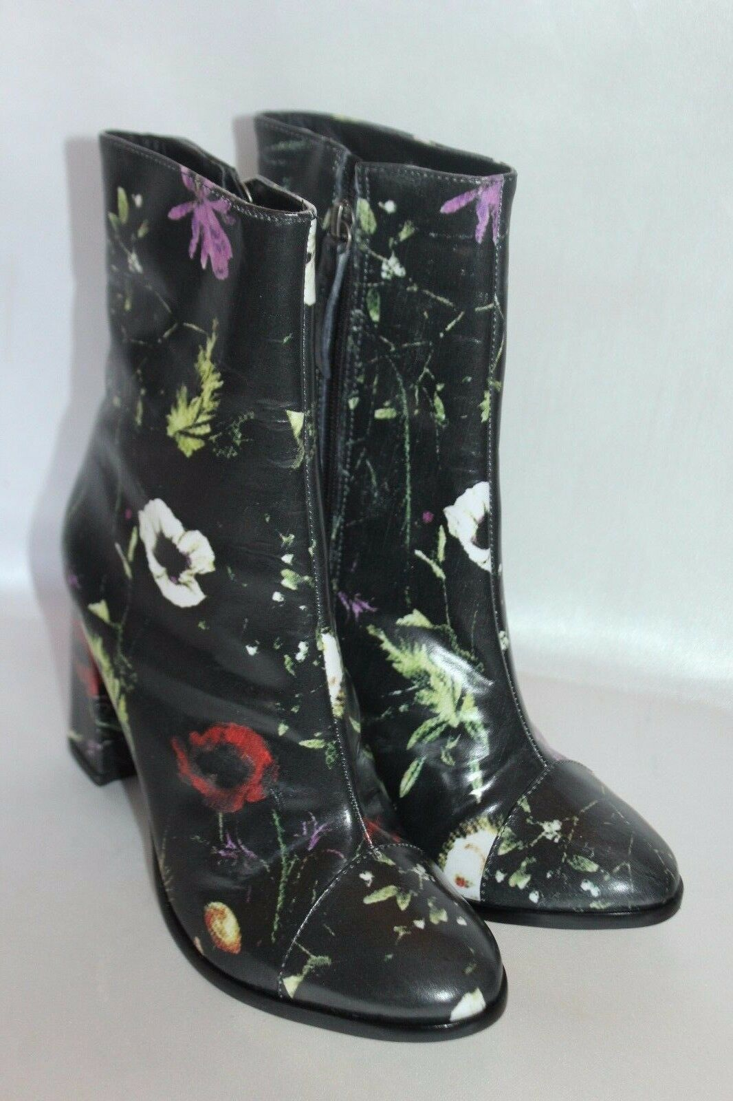 Nuevo  Talla de de de Matisse cuero Floral Negro botas al Tobillo Cremallera Posey Tacón Alto Talla 7.5  205 a881a1