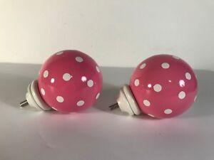 Pottery Barn Kids Pink White Polka Dots Finials Pair 2 1 2