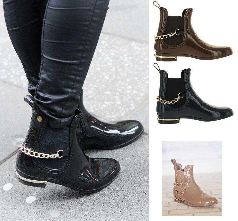 Womens Rubber Rain Chain Ankle Boots Dottie-7