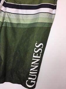 bac4f9cdbe GUINESS Men's Size L Swimming Trunks Board Shorts Green Black Pockets Knee  Beer
