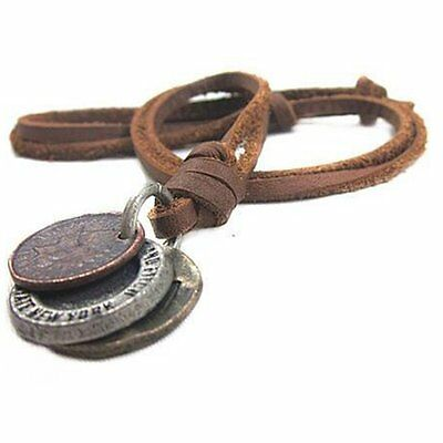Men Women Retro Cool 3 Coins Pendant Charm Choker Genuine Leather Necklace Well