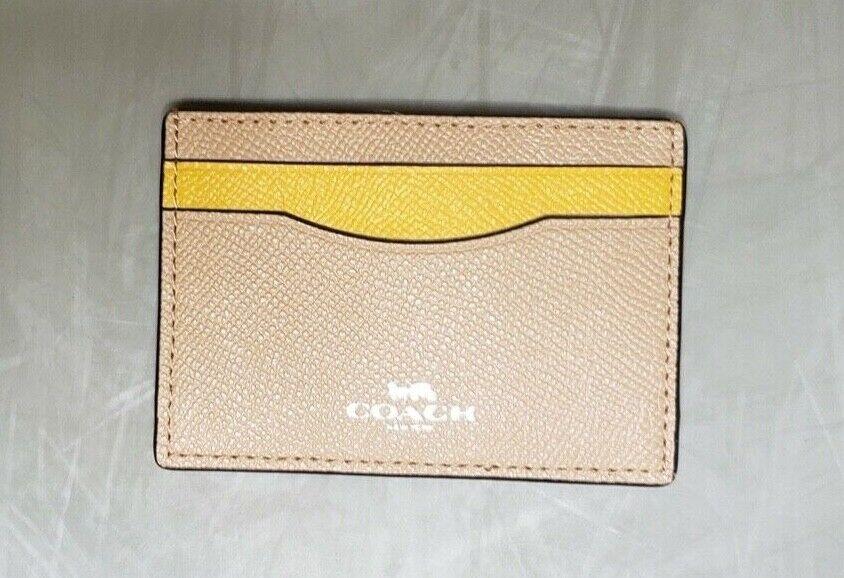 COACH Flat Card Case Block Tan Yellow Leather F86927
