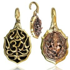 ORNATE 6g (4mm) TRIBAL GANESH BRASS EAR WEIGHTS PLUGS TUNNELS STRETCH GAUGE PLUG