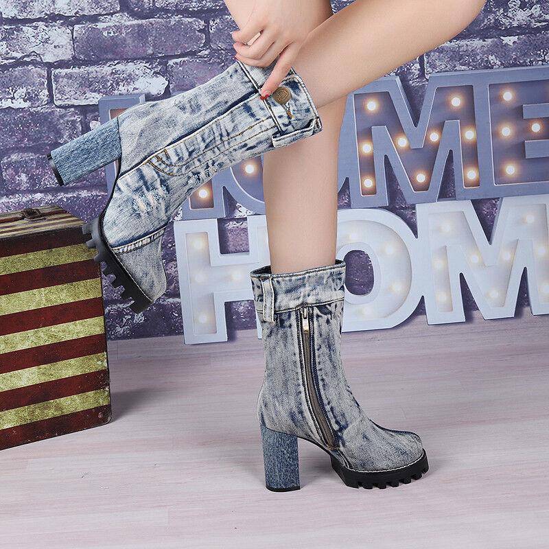 Para mujeres Occidental Denim Mitad de Pantorrilla botas Zapatos botas Pantorrilla motocicleta elegante lateral de cremallera Invierno 7 559349