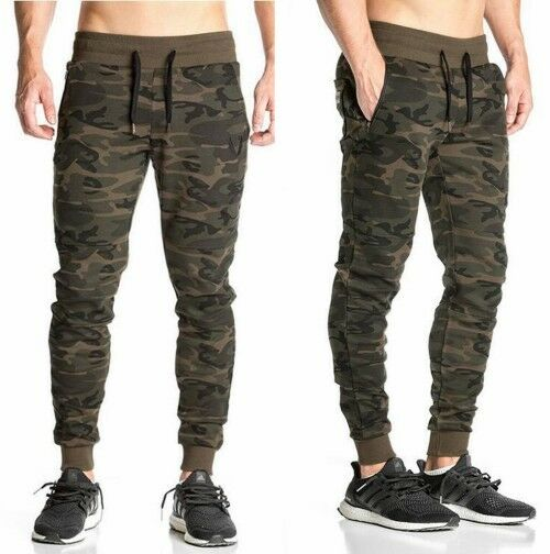 Men Gym Pants Camouflage Casual Jogger Skinny Baggy Sweatpants Slim Fit Trousers