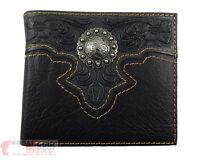 Western Bi-fold Men's Wallet Genuine Tooled Leather Silver Concho Floral Black