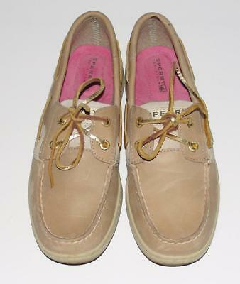 SPERRY TOP SIDER~GOLD GLITTER~LEATHER~BOW SLIP-ON BOAT CASUAL FLAT SHOES~7