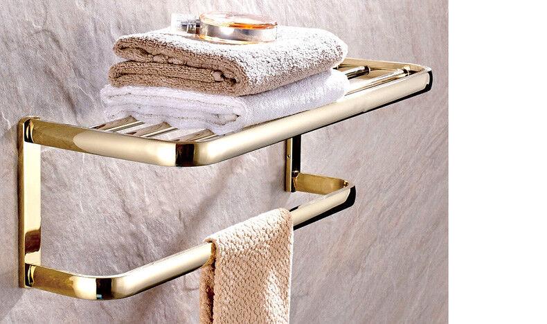 Gold Color Brass Wall Mounted Bath Towel Ring Towel Rack Holder Towel Bar Uba844