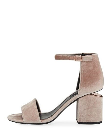New Alexander Wang ABBY VELVET HEELS SANDAL WITH WITH WITH RHODIUM rose Nude8.5  495 4f2ffa