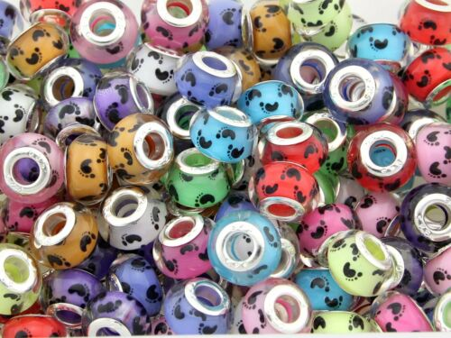 10 x 50 x 100 x Big Hole Baby Feet  Beads Mix For Charm Bracelet Choose Qty ZH10