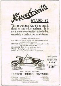 1912-Original-Antique-Vintage-Humber-Humberette-Automobile-Car-Art-Print-Ad
