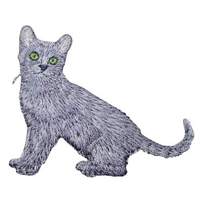 GRAY CAT Iron On Patch Cats Kitten Pets Animals