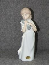 """Casades/ Spain ~ Porcelain8 ½""""  Brown Haired Girl Figurine Holding Puppy~ EUC"""