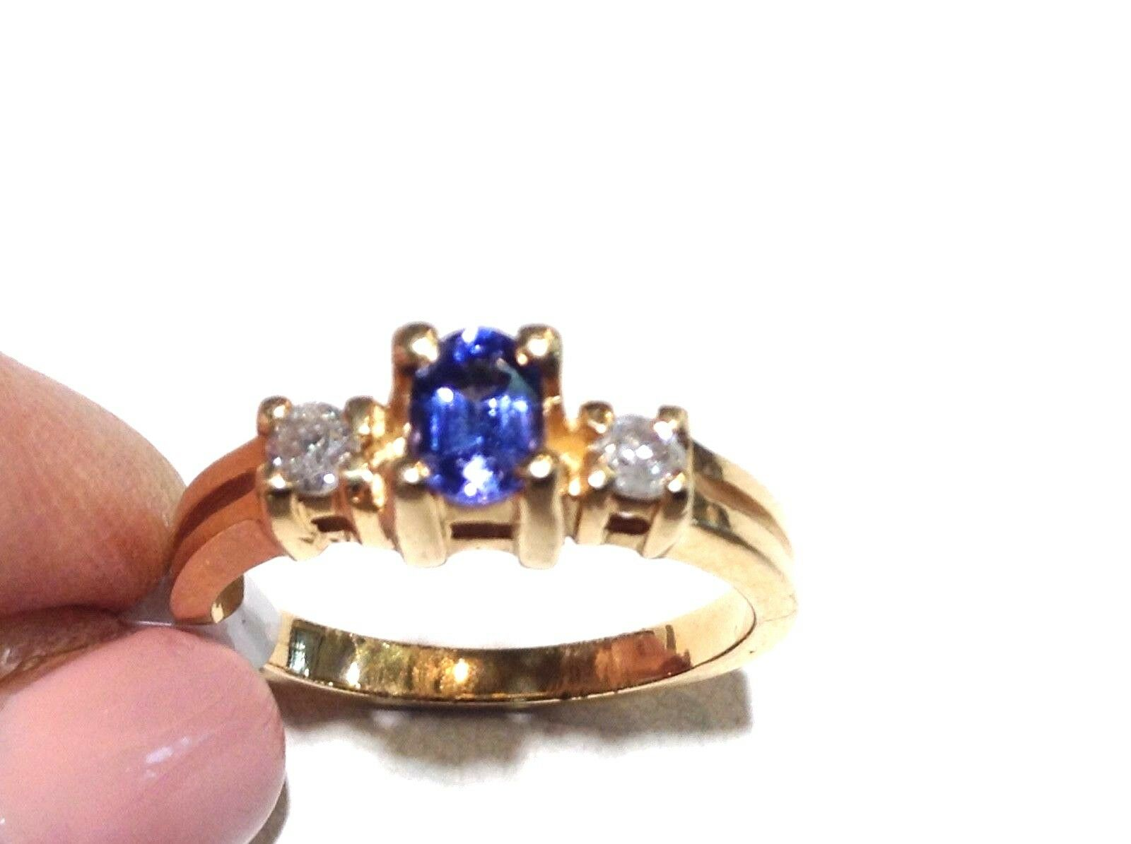 14k Yellow gold Tazanite & Diamond Ring Size 7