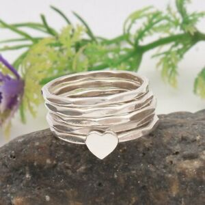heart-band-Ring-Eternity-925-sterling-silver-set-of-5-rings-Meditation-ring