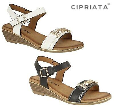 Ladies Oro Spilla Trim Vamp Sandali Cinturino Fibbia-bianco Nero Taglia 3 4 5 6 7 8-mostra Il Titolo Originale