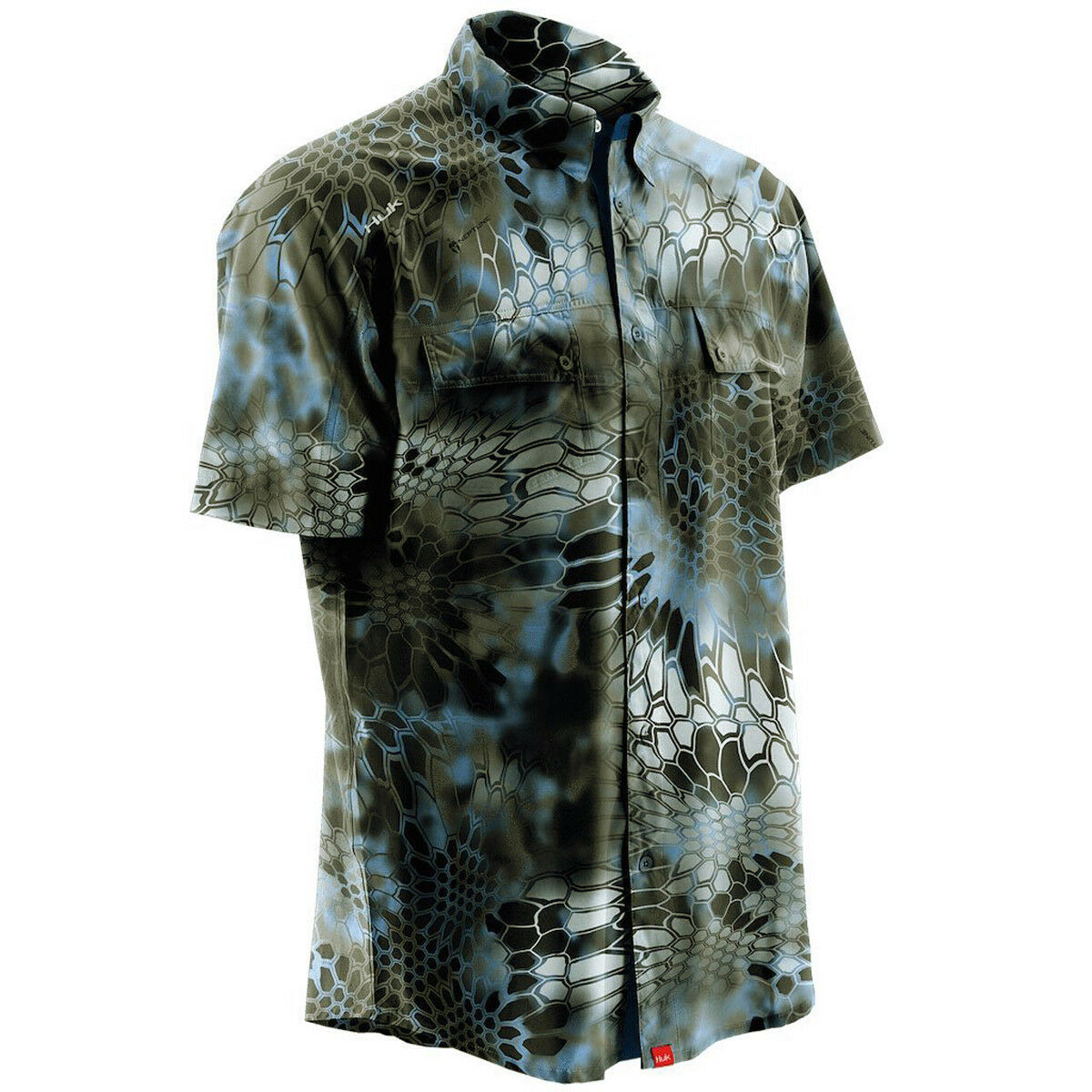 Huk Next Level Kryptek Antimicrobial Cooling Button-Down Shirt - Neptune