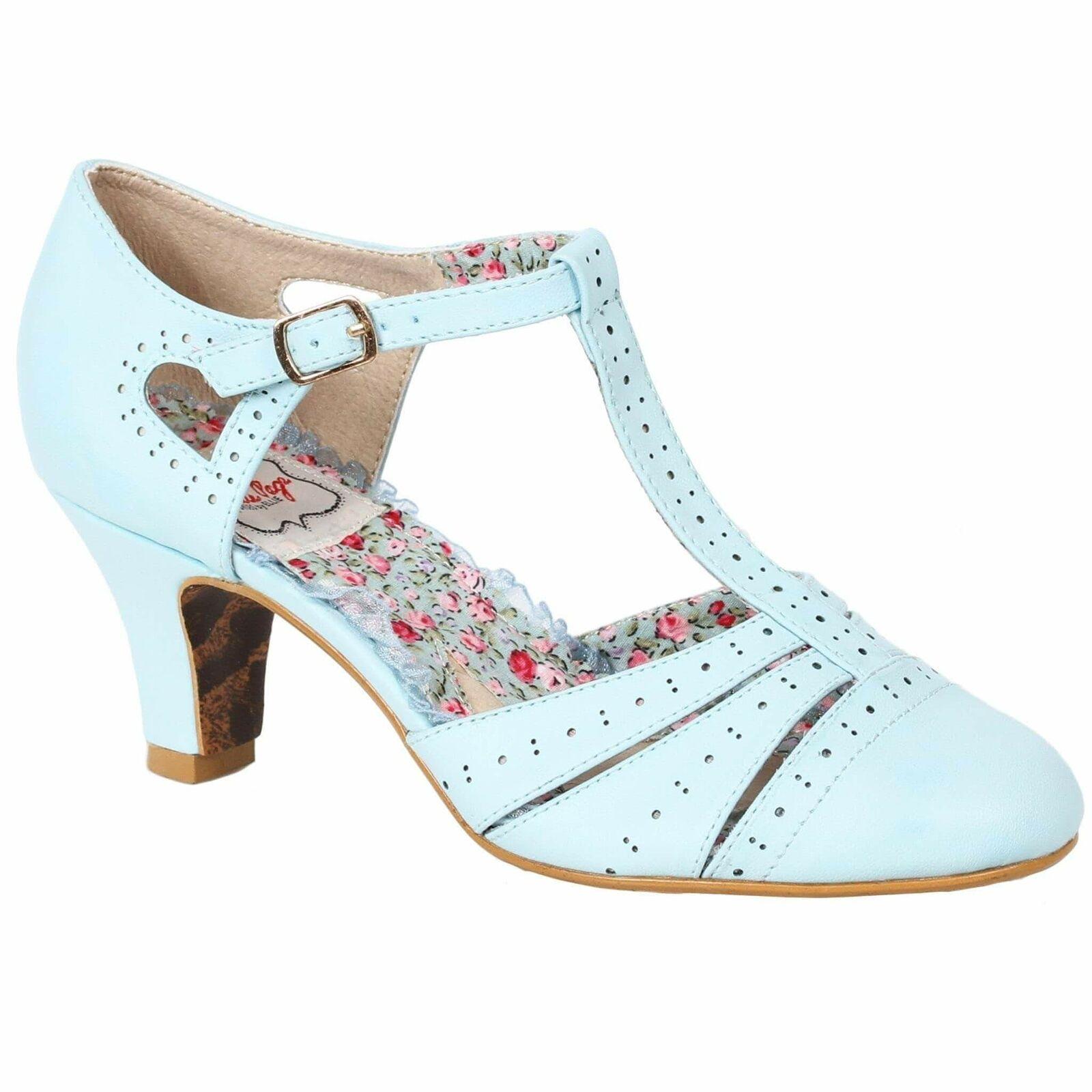 Bettie Page chaussures Maisie bleu Retro Rockabilly Vintage Casual Cute 6-11