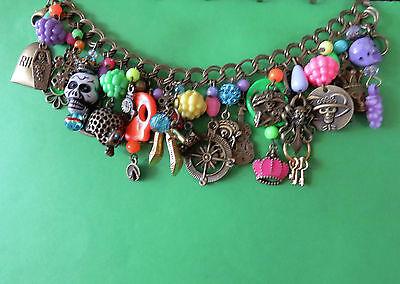 NEON BP DAY of the DEAD charm bracelet:RIP Sugar Skulls Coffin Music Hearse+more