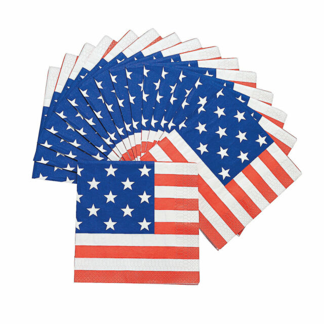 16 4th of July PATRIOTIC PAPER Party USA America FLAG Print LUNCHEON NAPKINS