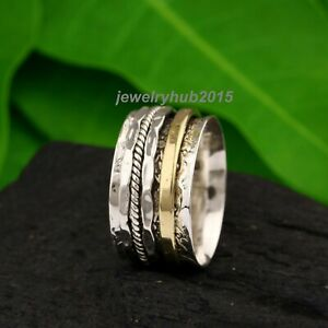 Solid-925-Sterling-Silver-Spinner-Ring-Meditation-Ring-Statement-Ring-Size-SR259