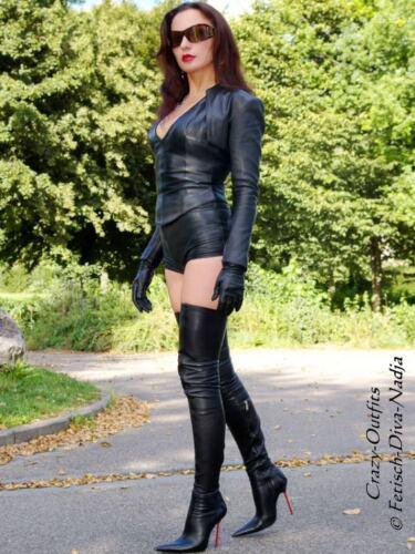 Pantaloni pelle in su in Black caldi Hotpants misura Pantaloni pelle Knalleng wxICtX1