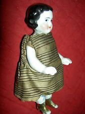 Delightful antique china, frozen Charlotte, dollhouse doll with gold boots XLNT