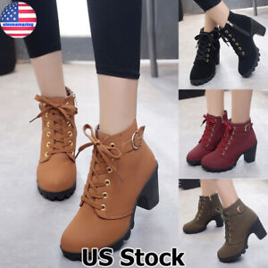 WOMEN-LADIES-HIGH-HEEL-LACE-UP-BUCKLE-ANKLE-BOOTS-CASUAL-ZIP-PLATFORM-SHOES-SIZE