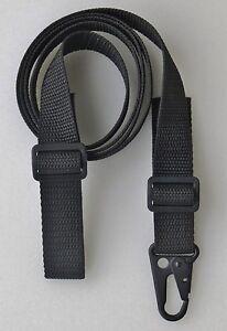 Black-RIFLE-SHOTGUN-SLING-1-034-x-45-034-Cut-55-750-lb-Polypro-Web-HK-Style-QD-Clip