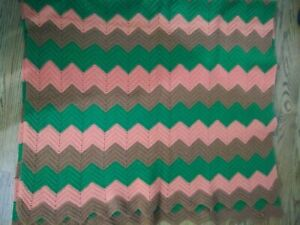 Handmade-Crochet-Afghan-Blanket-Bed-Throw-58-034-x-58-Pink-Green-Brown