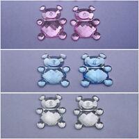 60 x 12mm flat back rhinestone Teddy Bears-card making gems - pink/blue/clear