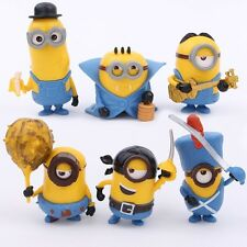 6 Pcs Miniature Minions Cake Topper (USA SELLER FAST SHIPPING) Minion Toy Set
