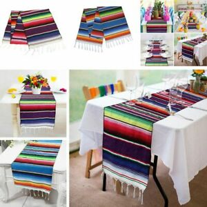 Mexican-Serape-Table-Runner-Fringe-Cotton-Tablecloth-Festival-Party-Home-Decor