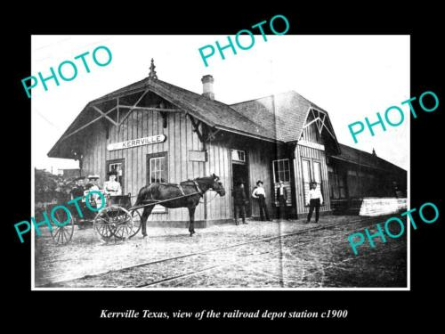 OLD 6 X 4 HISTORIC PHOTO OF KERRVILLE TEXAS, THE RAILROAD DEPOT STATION c1900