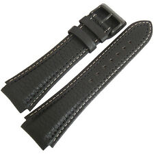 24mm Di-Modell Pilot Long Black Leather PVD BUCKLE German Made Watch Band Strap