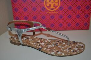6187b5e67cf83 NIB Tory Burch Marion Quilted CORK Sandal Thong Flat SILVER Leather ...