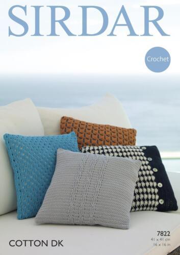 Sirdar 7822 Crochet Patterns Cushion Covers in Sirdar Cotton DK