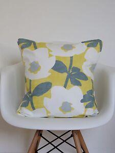 "18/"" Cushion Cover Geometric Modern Retro Funky Saffron Yellow Grey 3D Cube"
