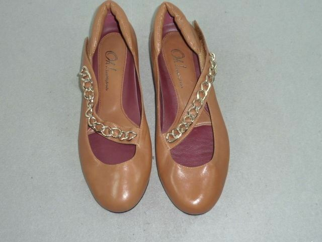 Womens Oh  Franca Brown Chain Leather Flats 6 M A061