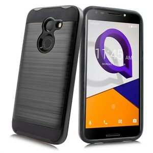 Details about For Alcatel A30/Kora/Zip LTE Tough Brushed Hybrid Armor  Rubber Case + Emoji KC