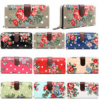 LADIES FLOWER BUTTERFLY POLKA DOT OILCLOTH COIN WALLET PURSE CLUTCH HAND BAG